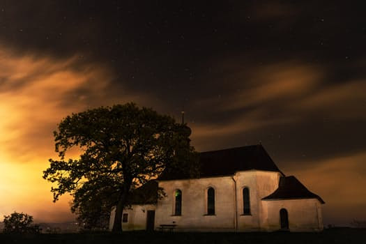 night-house-stars-church
