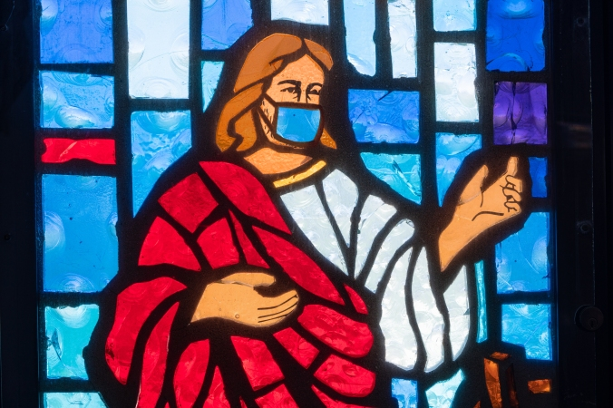 Christian themed stained glass, Freeport, Grand Bahama, Bahamas