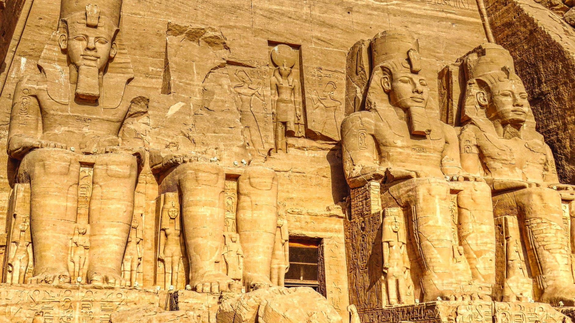 statues of ramses in abu simbel temple