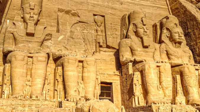 statues of ramses in abu simbel temple